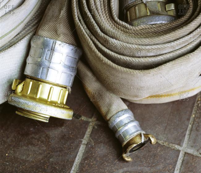 Close-up of fire-extinguishing hose