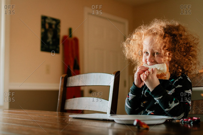 Little boy eating a sandwich at a dining table