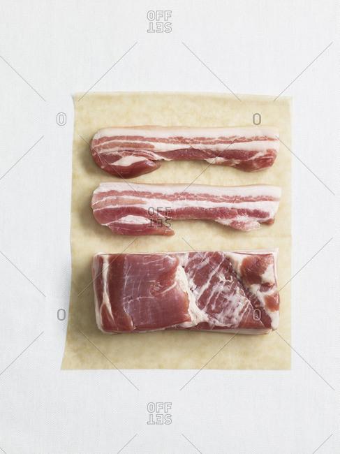 Pork meat on paper, studio shot