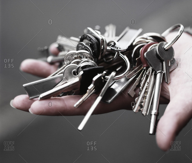 Keys on hands, close-up