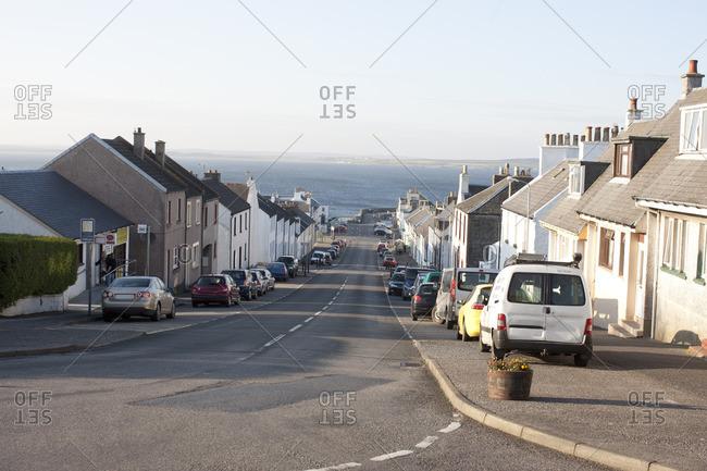 Scotland - June 11, 2013: Street in coastline town