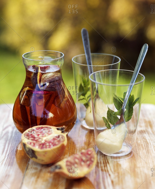 Jug of fig and cinnamon drink
