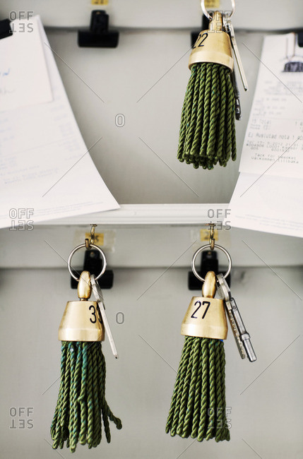 Hotel keys hanging, Sweden