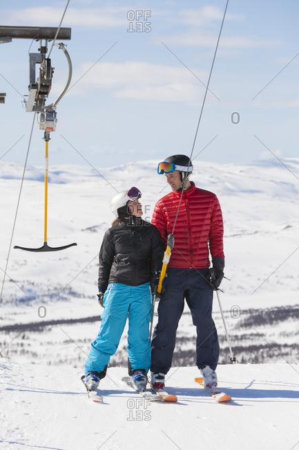 Father and daughter on ski drag