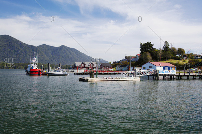 Docks And Boats In The Harbor; Tofino, British Columbia, Canada