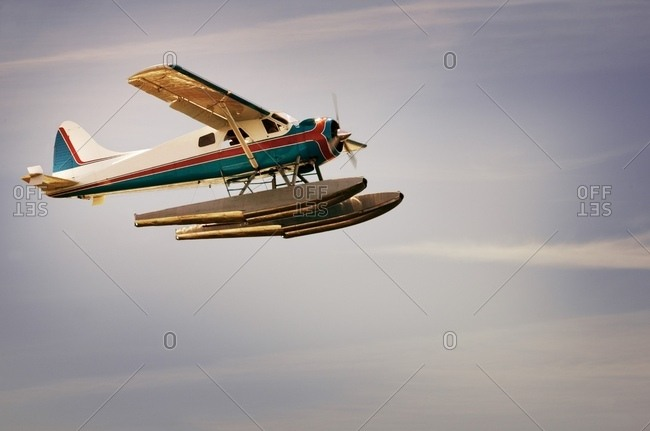 Low Angle View Of A Seaplane Flying