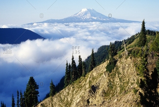 Mount Adams Above Cloud-Filled Valley, Washington, United States Of America