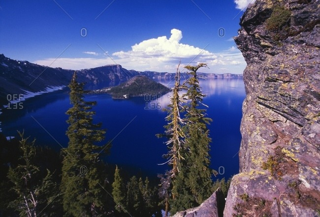 View Of Wizard Island At Crater Lake National Park