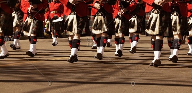 A Marching Bagpipe Band