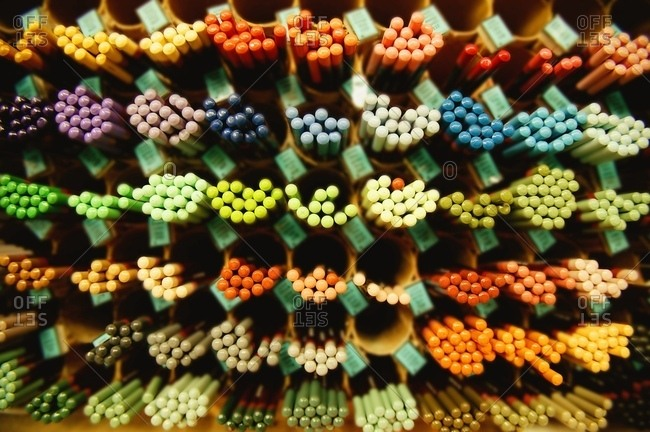 A Display Of Colored Pencils