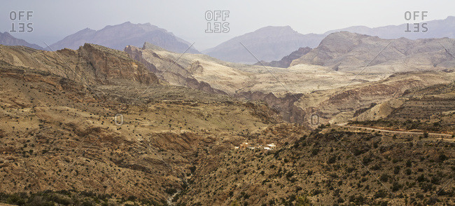 Traditional village perched in the Jabal Akhdar mountains with landscape view