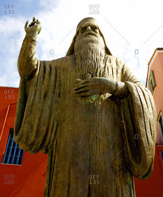 Greek Orthodox statue outside city cathedral
