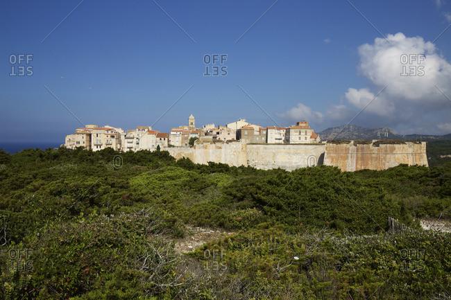 Bonifacio citadel overlooking blue sea
