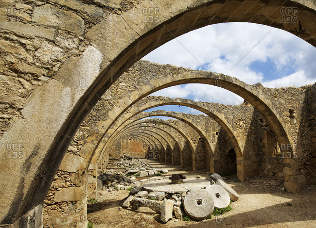 Ruins and archways of ancient Greek orthodox monastery