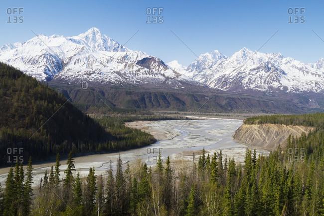 View of Matnuska River Valley from the Glenn Highway outside Palmer, near the Matanuska Glacier area, South-central Alaska in springtime; Alaska, United States of America