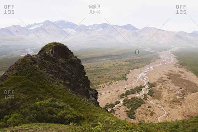 View from park road of Marmot Rock in Polychrome Pass, Denali National Park and Preserve, interior Alaska in summertime; Alaska, United States of America