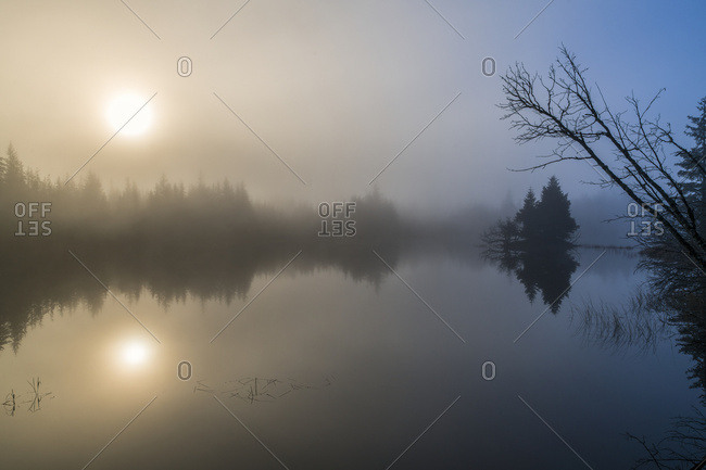 Morning fog begins to lift from a small pond in the Mendenhal Recreation area; Juneau, Alaska, United States of America