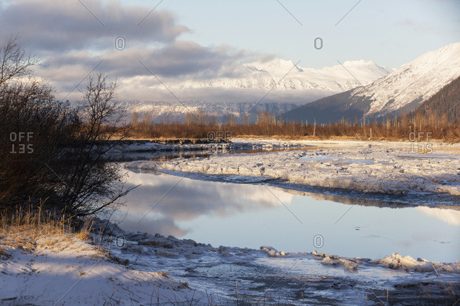 Scenic winter view of Portage Creek 3two , Portage Valley, South-central Alaska, USA