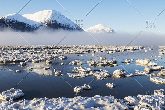 Spring breakup at Portage Lake, ice chunks dot the lake as water begins to show,  South-central Alaska; Alaska, United States of America