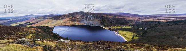 Panoramic view of stunning Guinness Lake; Wickow County, Ireland