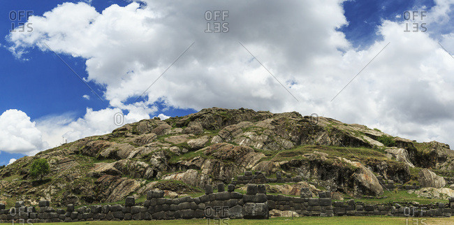 Panorama of Saksaywaman (Saqsaywaman) citadel, historic capital of Inca Empire on outskirts of Cusco; Peru
