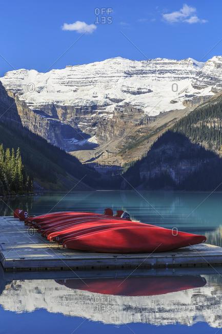 Rental canoes on Lake Louise; Alberta, Canada