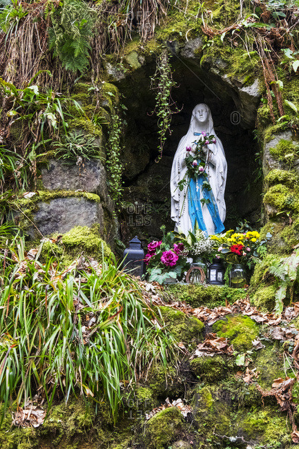 Grotto dedicated to Our Lady of Reconciliation in the valley of the Glencree River; Wicklow County, Ireland