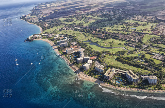 Aerial view of the condominiums and hotels along the coastline; Maui, Hawaii, United States of America