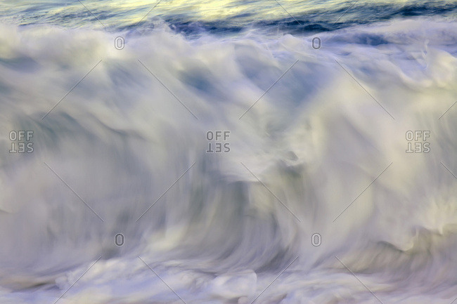 Ocean wave blurred by motion; Hawaii, United States of America