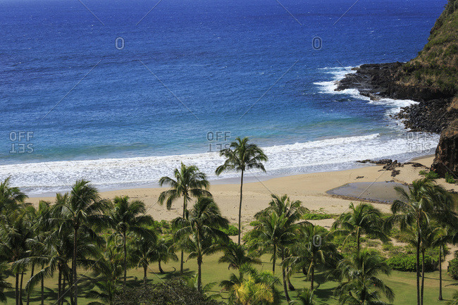Lawa'i Beach in Allerton Garden, part of National Botanical Garden near Poipu; Kauai, Hawaii, United States of America