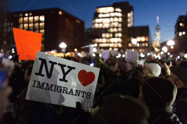 New York City, New York - January 25, 2017: Sign at protest in Washington Square Park