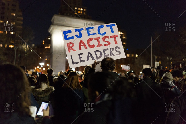 New York City, New York - January 25, 2017: Signs at a protest in Manhattan