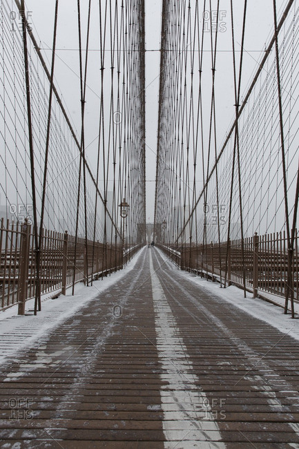 Snow walkway on the Brooklyn Bridge