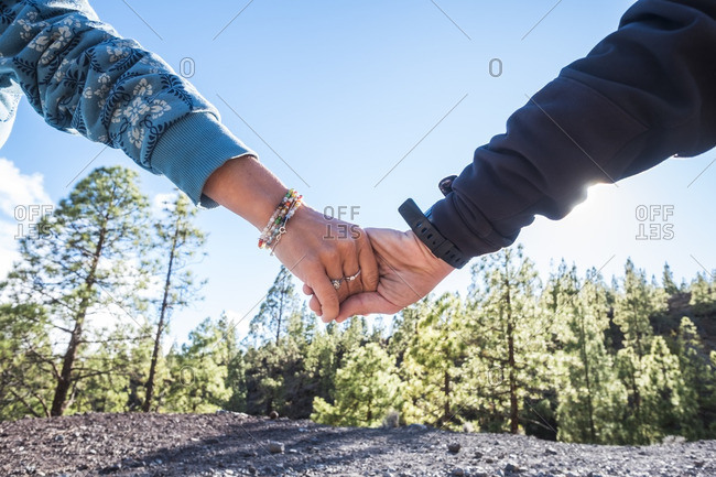 Hands clasping by forest, Tenerife, Spain