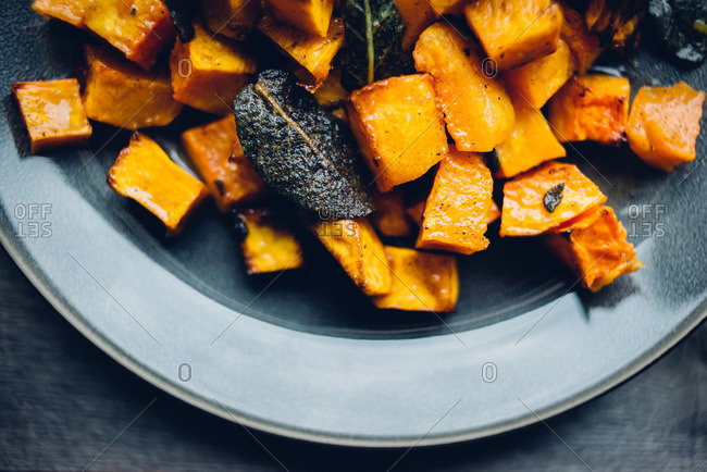 Close up of cooked butternut squash