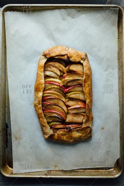 Apple galette on a baking sheet