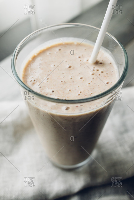 Close up of a fresh date milkshake