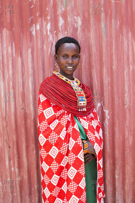 Samburu woman in traditional costume, Kenya, Africa