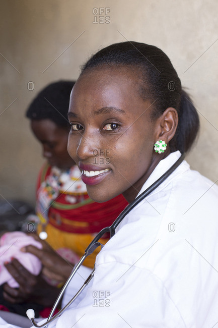 Doctor with Samburu woman at clinic in Kenya