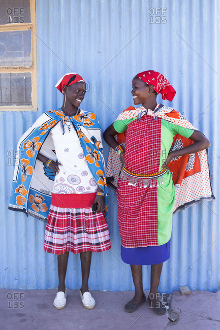 Two women from the Maasai tribe in colorful costume, Kenya, Africa