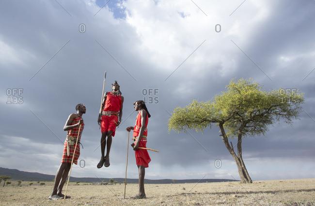 Three Maasai tribesmen jumping, in typical Maasai landscape, Kenya
