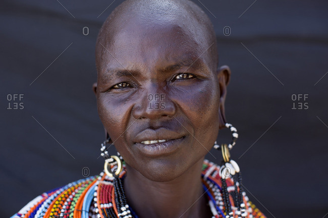Close-up portrait of a Samburu woman, Kenya, Africa