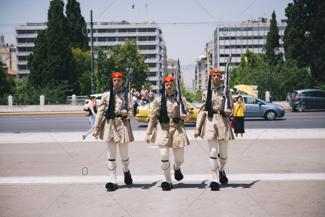 Athens, Greece - June 21, 2016: Soldiers marching in the Changing of Guards in front of the Hellenic Parliament in Syntegra Square