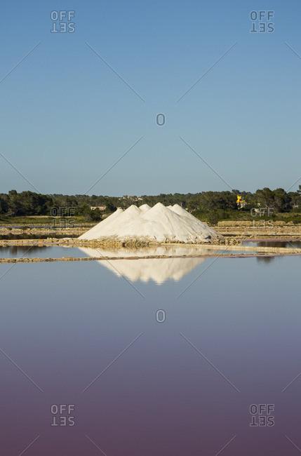 Salt mound in Salinas, Mallorca, Spain