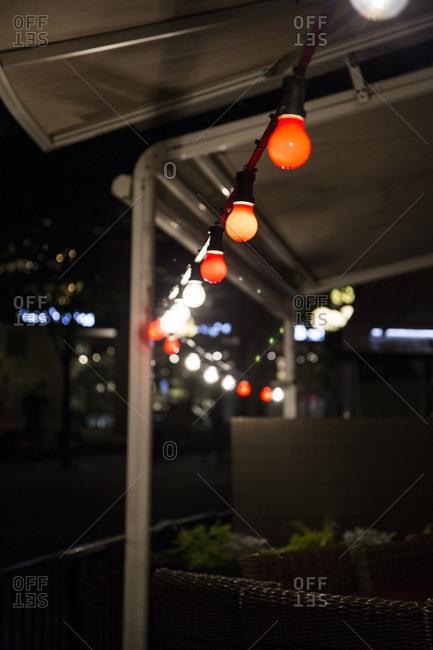 Lights over a bar's terrace, Sweden, Stockholm