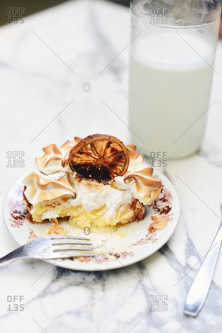 Half eaten lemon meringue pie