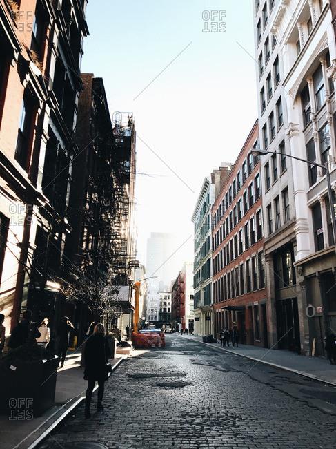New York City, New York - December 27, 2016: Greene street in the Soho neighborhood in NYC