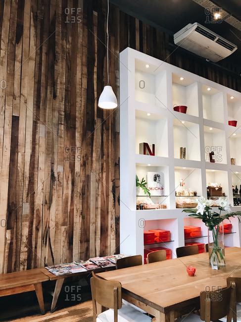 Buenos Aires, Argentina - January 16, 2017: Interior of Nucha restaurant in Buenos Aires