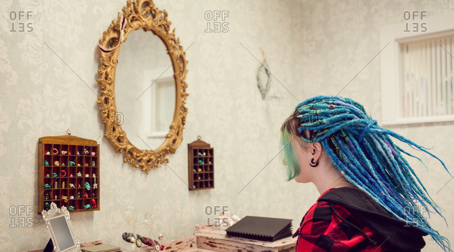 Woman with dreadlocks in salon
