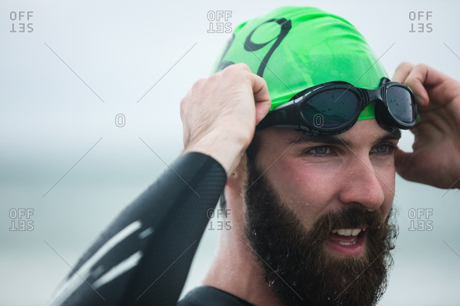 Close-up of athlete wearing swimming goggles